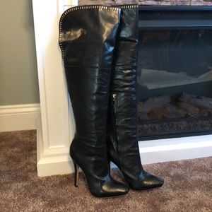 💥💥L.A.M.B. Black leather over the knee boots 6.5